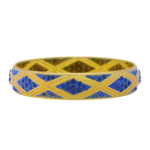 Art Deco Carved Celluloid Blue Rhinestone Bangle