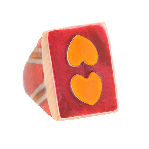 Late Art Deco Red Celluloid Double Heart Ring