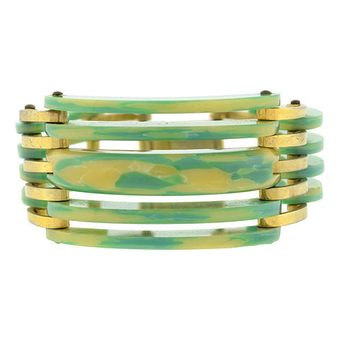 Art Deco Green & Yellow Celluloid & Brass Stacked Bracelet