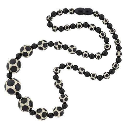 Art Deco Carved Celluloid Bead Necklace