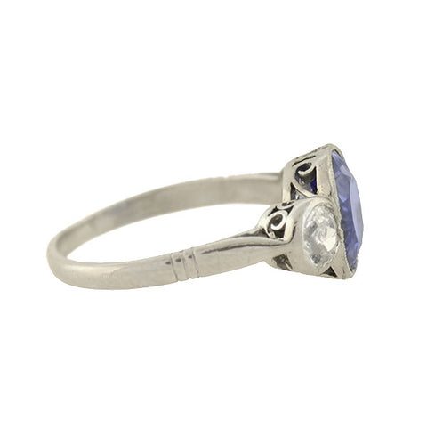 Art Deco Platinum Natural Ceylon Sapphire + Diamond 3-Stone Ring