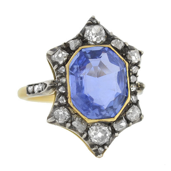 Victorian 18kt & Sterling Ceylon Sapphire & Diamond Ring 4.60ct