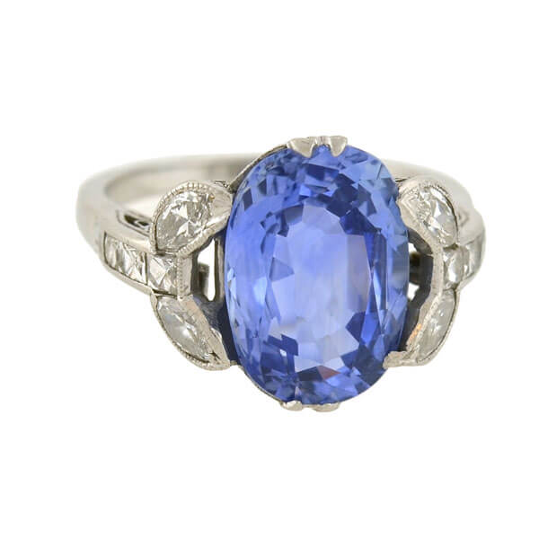 Art Deco Platinum No Heat Sapphire & French Cut Diamond Ring 4.15ct