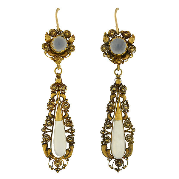 Victorian 18kt Chalcedoney Cannetille Teardrop Earrings