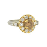 Art Deco 14kt Champagne Diamond Cluster Ring .65ct center