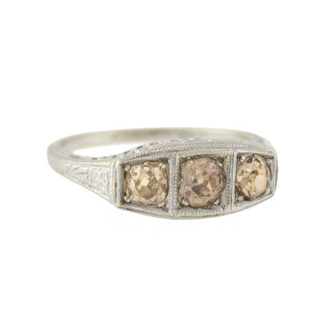 Art Deco 14kt Champagne Diamond 3-Stone Ring 0.85ctw