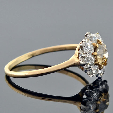 Edwardian Platinum & 14kt Champagne Diamond Cluster Ring 1.20ctw