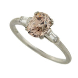 Art Deco Champagne Cushion Cut Diamond Engage Ring 1.22ctw