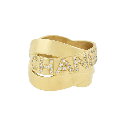 "CHANEL Estate French 18kt Gold Diamond ""Bolduc"" Ring"