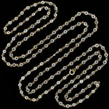 Art Deco Long Silver-Plated Czech Crystal Chain Necklace 56