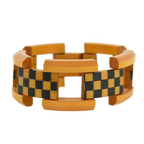 "Retro Bakelite ""Checkerboard"" Gate Link Bracelet"