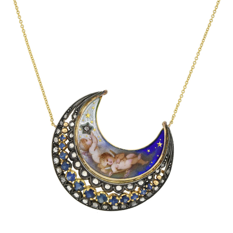Victorian 14kt Gold Nugget + Carved Horn Crescent Moon  Necklace 18""
