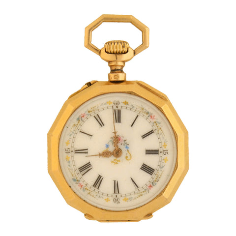 Victorian French 18kt Diamond + Enameled Cherub Pocket Watch