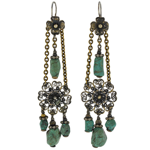 Art Deco Chinese Sterling Gilt & Turquoise Earrings