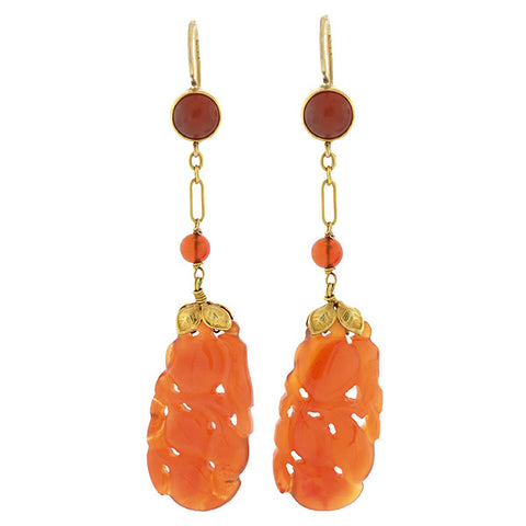 Art Deco 14kt Carved Carnelian Earrings