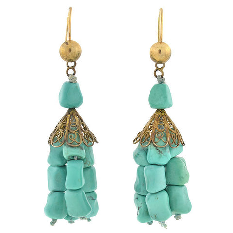 Vintage Sterling Chinese Turquoise Tassel Earrings