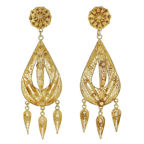 Art Deco Chinese Dramatic Sterling Gilt Filigree Earrings