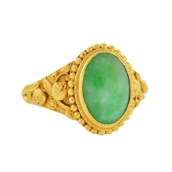 Art Deco 22kt Chinese Jade Ring with Floral Motif