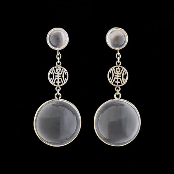 "Art Deco Chinese 18kt ""Pools of Light"" Rock Quartz Crystal Earrings"