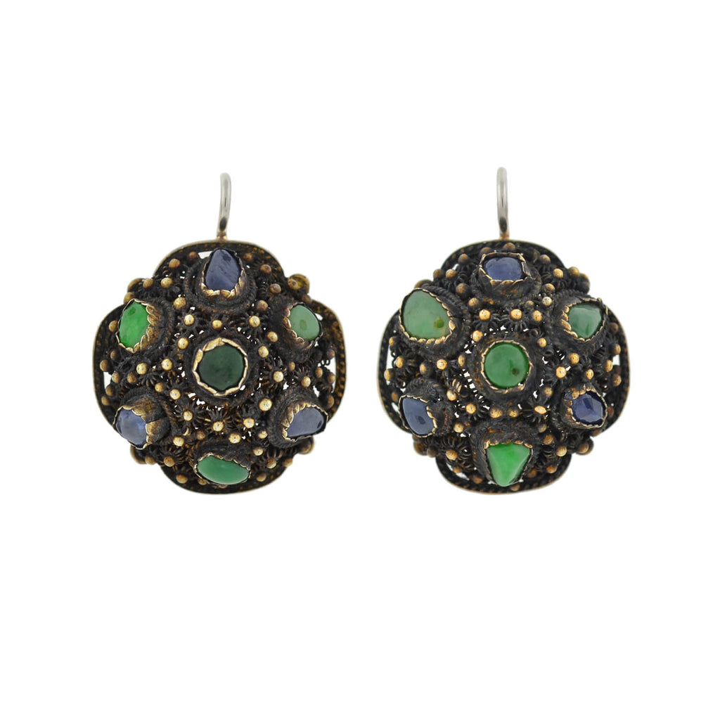 Arts & Crafts Chinese Silver Gilt Jade + Sapphire Filigree Earrings