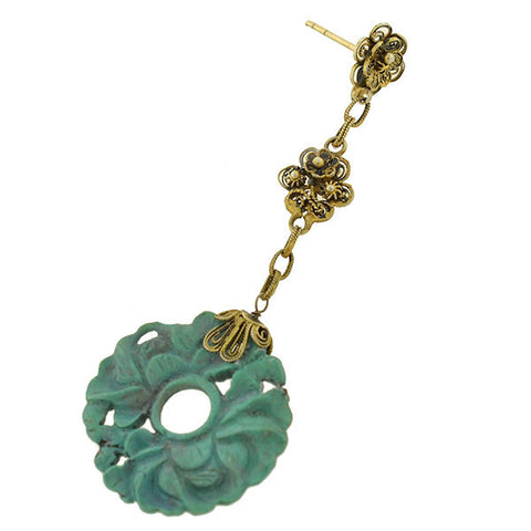 Vintage Chinese Silver Gilt & Carved Turquoise Filigree Earrings
