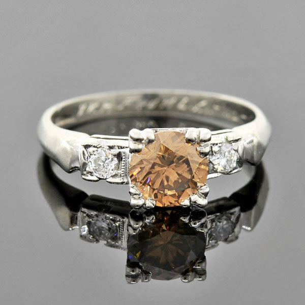 Retro Platinum Chocolate Diamond Engagement Ring 0.92ct