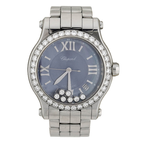 "CHOPARD Estate Stainless Steel ""Happy Sport Limited Edition USA"" Diamond 36MM Watch 2.31ctw"