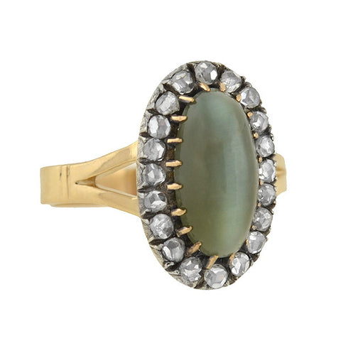 Victorian 14kt/Silver Cat's Eye Chrysoberyl & Diamond Ring