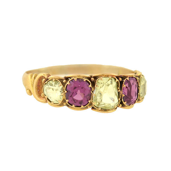Early Victorian 15kt Chrysoberyl & Pink Sapphire Ring