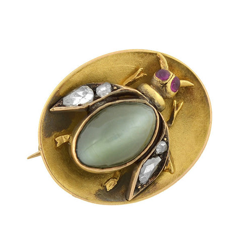 Victorian 15kt Cat's Eye Chrysoberyl & Diamond Bug Pin