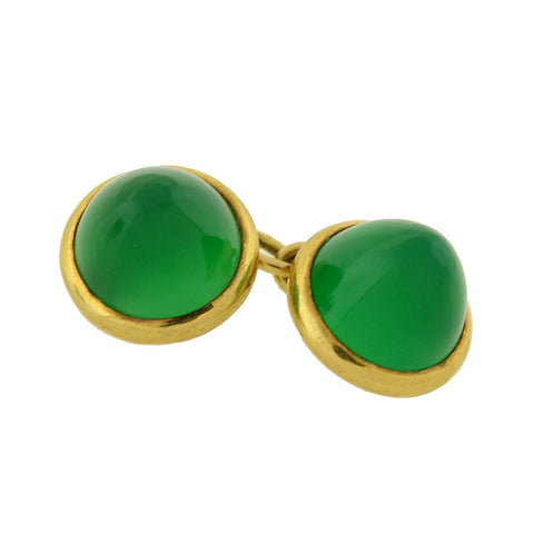 Art Deco French 18kt Chrysoprase Double-Sided Cufflinks