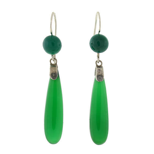 Art Deco Sterling & Chrysoprase Teardrop Earrings