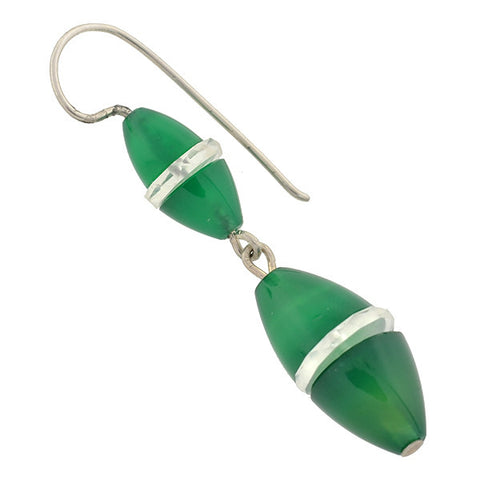 Art Deco Sterling Chrysoprase & Rock Crystal Earrings