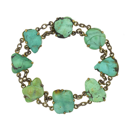 Vintage Chinese Brass & Natural Turquoise Nugget Link Bracelet