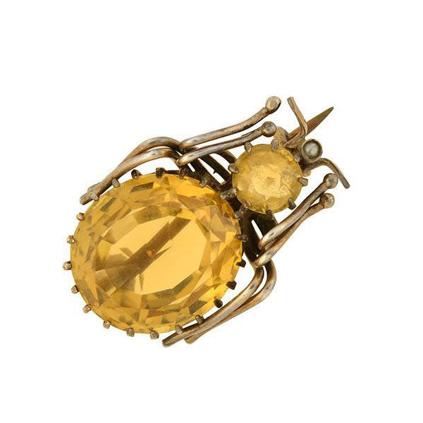 Victorian Gilded Sterling Silver Citrine Bug Pin