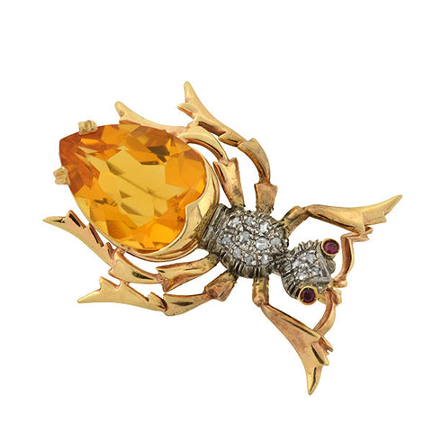 Retro Large 14kt Citrine Diamond & Ruby Bug Pin