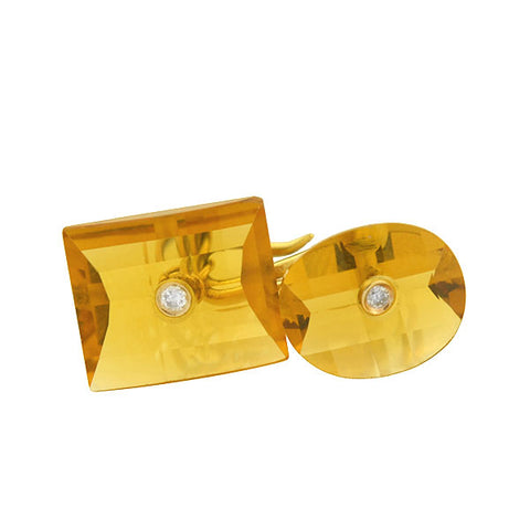 Art Deco 18kt Faceted Citrine & Diamond Cufflinks