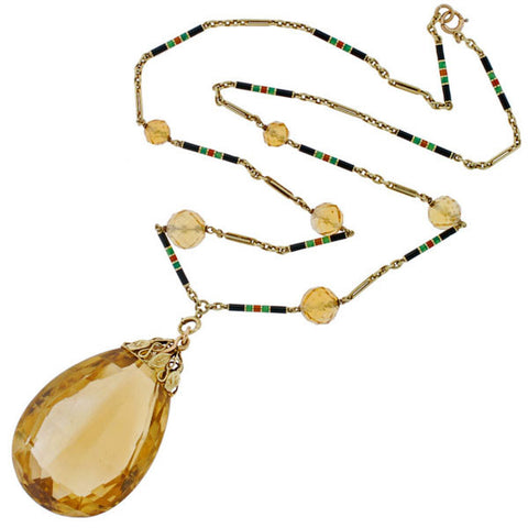 Art Deco 14kt Large Citrine Drop Enameled Chain Necklace