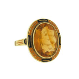 Art Deco 14kt Faceted Citrine & Enamel Ring