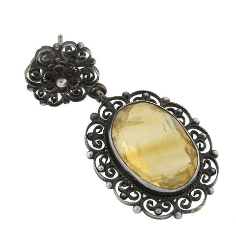 Art Deco Sterling & Citrine Filigree Earrings