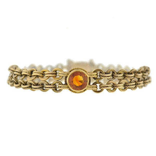 Art Deco 18kt Gold Chain & Citrine Bracelet