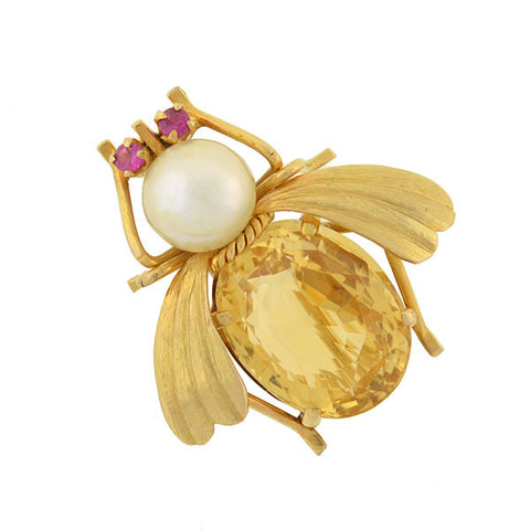 Vintage 14kt Citrine, Pearl & Ruby Bug Pin