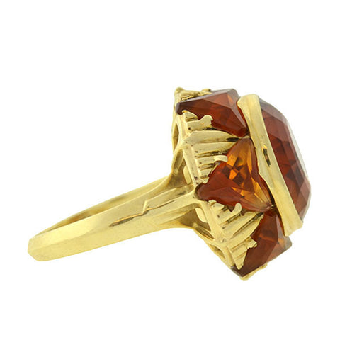 Retro 14kt Madeira Citrine Sunburst Ring