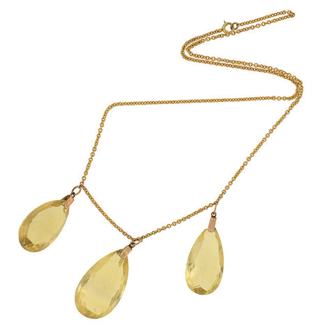Late Victorian 14kt Teardrop Citrine Briolette Trio Necklace