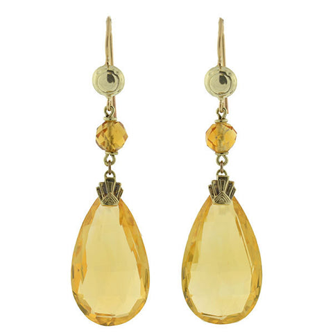 Art Deco 14kt & Faceted Citrine Teardrop Earrings