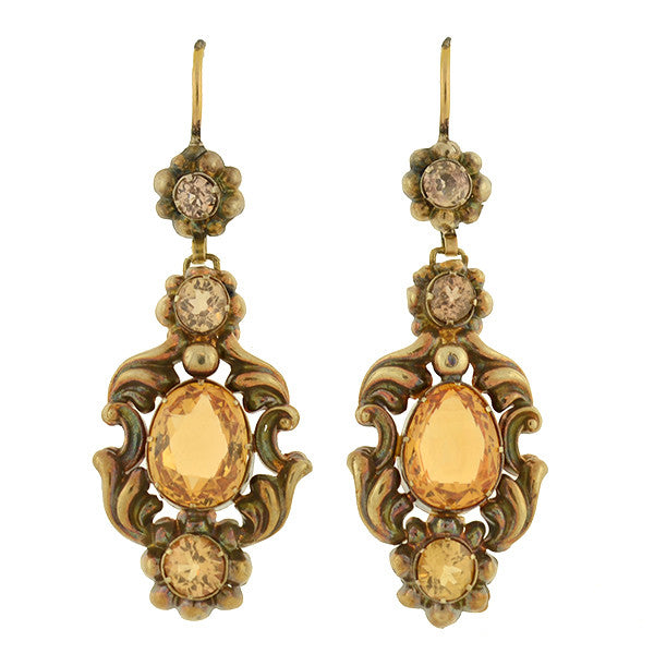 Victorian 14kt Citrine & Yellow Zircon Earrings