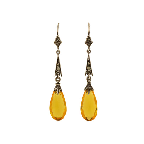 Art Deco Sterling Citrine Briolette + Marcasite Drop Earrings