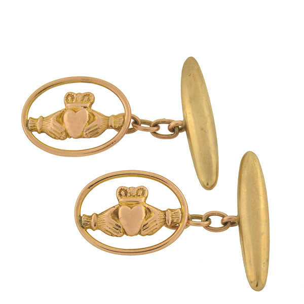 Late Victorian Irish 9kt Claddagh Cufflinks