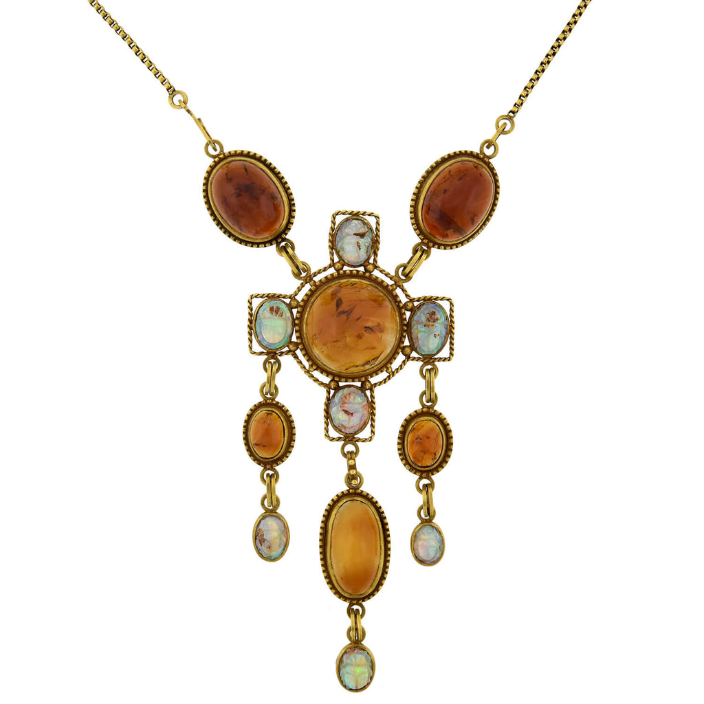 Art Nouveau Egyptian Revival 14kt Amber + Carved Opal Scarab Necklace