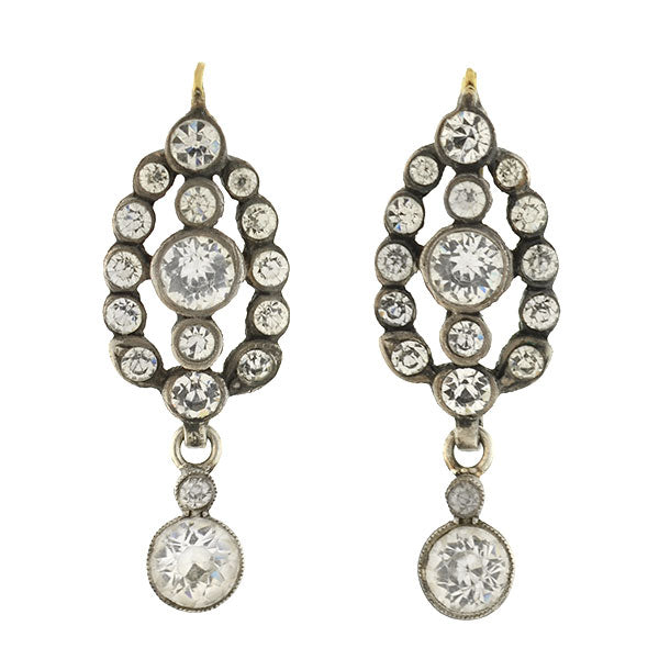 Victorian 18kt/Sterling French Paste Dangling Earrings